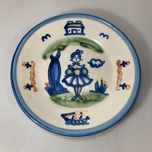 """M A Hadley Pottery Dinner Plate 9"""" Girl Lady Tree"""
